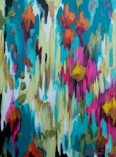 Artist: kristy gammill // turquoise and orange abstract// 18×24 acrylic abstract painted on 1 1/2″ gallery wrapped canvas