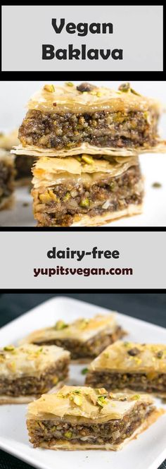 Make your own vegan baklava at home with step-by-step photos. Decadent walnut-pistachio filling inside layers of flaky, buttery phyllo dough, finished with sweet cinnamon syrup. You'll never miss the dairy in this vegan version! Vegan Treats, Vegan Foods, Vegan Dishes, Vegan Dessert Recipes, Dairy Free Recipes, Cooking Recipes, Vegan Baklava, Dessert Oreo, Dessert Food