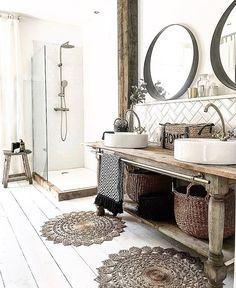 Rustic bathroom interior with wooden accessories and painted white feet . - Rustic bathroom interior with wooden accessories and painted white floorboards - Farmhouse Vanity, Bathroom Interior, Rustic Bathroom, Bathroom Decor, Interior, White Floorboards, Painted Vanity Bathroom, Home Decor, Small Bathroom Decor