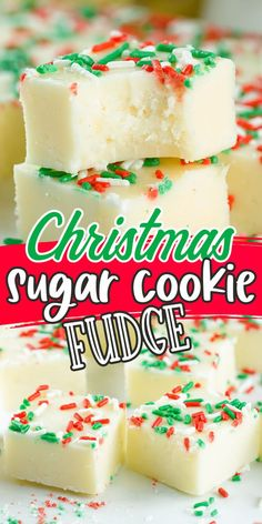 Christmas Sugar Cookie Fudge is an easy-to-make, rich, and creamy combination of two delicious desserts: sugar cookies and fudge. With only 5 quick minutes to prep and 4 simple ingredients, this festive no-bake recipe is the sweetest way to spread holiday happiness.