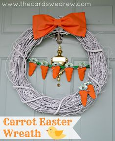 Make this cute Carrot Easter Wreath in time for the holiday- so cute and sweet, easy to make!