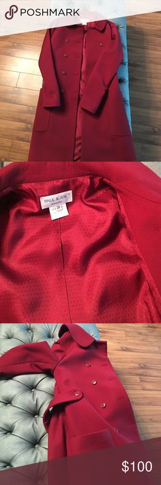 Paul and Joe made in France Red Paul and Joe jacket in perfect condition size 38 100% wool. Made in France. Soft and silky inside. Very slimming and sexy jacket paul and Joe Jackets & Coats Trench Coats