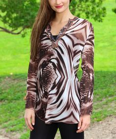Look what I found on #zulily! Brown Swirl Embellished Notch Neck Tunic by La Moda Clothing #zulilyfinds