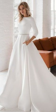 30 Cute Modest Wedding Dresses To Inspire ❤ modest wedding dresses princess s. 30 Cute Modest Wedding Dresses To Inspire ❤ modest wedding dresses princess simple with long sleeves elegant dom vesta Corset Back Wedding Dress, Modest Wedding Gowns, Top Wedding Dresses, Wedding Dress Trends, Princess Wedding Dresses, Modest Dresses, Bridal Dresses, Sexy Dresses, Simple Wedding Dress Sleeves