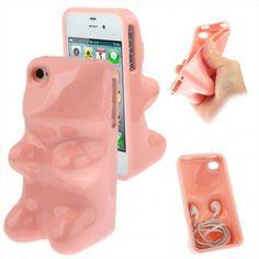 Coque de Protection Silicone Bonbon Ours Haribo pour iPhone 4 et 4S - Rose clair