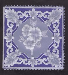 Pergamano - purple background with floral corners and middle flower