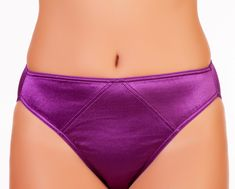 Passion Purple Fancy Satin Panty Hipsters, full cut nylon spandex liquid stretch satin.