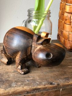 Excited to share this item from my shop: Midcentury modern hand carved wooden hippo hippopotamus Shelfie, Hippopotamus, Art Deco Fashion, Chinoiserie, Midcentury Modern, Hygge, Scandinavian Design, Hand Carved, Art Nouveau