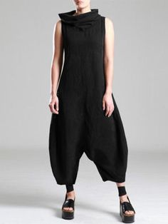 Summer Women Sleeveless Jumpsuits Ladies Turtleneck Harem Pants Solid Cotton Linen Drop Crotch Rompers Overalls Color Black Size S Jumpsuit Denim, Olive Jumpsuit, Cotton Jumpsuit, Denim Romper, Jumpsuit Outfit, Floral Jumpsuit, Black Jumpsuit, Vintage Overall, Overall Jumpsuit