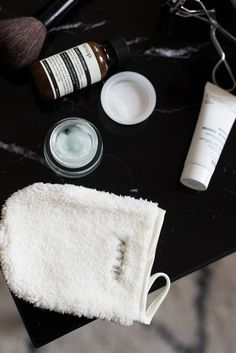 Beauty GLOV Make Up Remover Travel Essentials Aesop Travel Kit and Biotherm Creme with essie handcreme theadorabletwo
