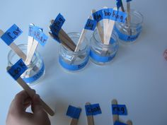 Rhyming Jars Game.  Children sort rhyming words that are written on flags on craft sticks into jars.