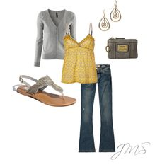 Love the sandals and the yellow and grey look