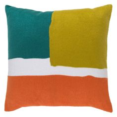 Surya Harvey Decorative Pillow - The cool color block pattern on this Surya Harvey Decorative Pillow comes in your choice of color combo. A variety of size options make this decorative...
