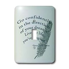 Go Confidently Thoreau quote with Feather Light Switch Cover