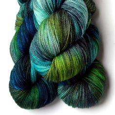 SW Merino, Cashmere and Nylon Yarn - Secret Spring, 560 yards. $29.00, via Etsy.