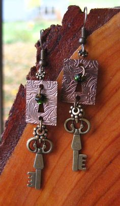 Antique Brass KEY and LOCK EARRINGS Mixed by DawnofCreationArt, $16.00