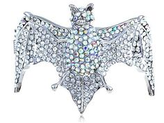 AB Clear Acrylic Crystal Rhinestone Spread Open Wing Halloween Bat Cuff Bracelet Alilang. $23.99