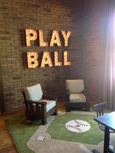 "The game is on in this fun playroom that features a baseball diamond rug and ""Play Ball"" marquee letters. Baseball Bedroom Decor, Baseball Furniture, Softball Room Decor, Softball Bedroom, Basketball Bedroom, Baby Boy Rooms, Baby Room, Kids Bedroom, Kids Sports Bedroom"