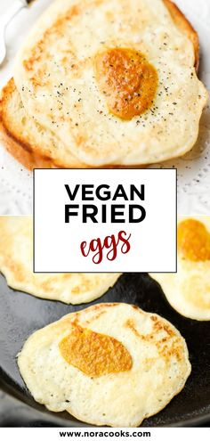 These vegan fried eggs are incredible and so easy to make! If you miss fried eggs, you will LOVE this recipe. Fried Egg Recipes, Egg Free Recipes, Tofu Recipes, Vegetarian Recipes, Healthy Vegan Breakfast, Healthy Foods, Healthy Eating, Healthy Recipes, Vegan Brunch Recipes
