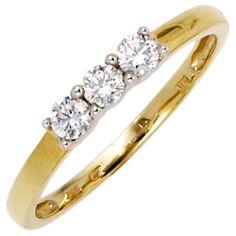 Damenring, 333/- Gold, gelb/weiß kombiniert, 3 Zirkonia (ca. 1,4 g) (nur Weite 50 - 60), Breite ca. 2,9 mm, Tiefe ca. 3,1 mm $103.96
