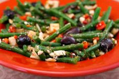 Green Bean Salad with Hearts of Palm, Olives, Red Pepper, and Feta #food #chefmode #delicious