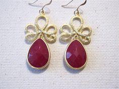 Deep Pink Gold Filigree Earrings by MariahBennett on Etsy, $35.00
