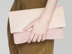 Pink suede leather fold-over clutch | Mum & Co // via Miss Moss