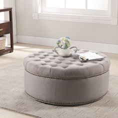 Shop for Baxton Studio Iglehart Beige Linen Modern Tufted Ottoman. Get free shipping at Overstock.com - Your Online Furniture Outlet Store! Get 5% in rewards with Club O!