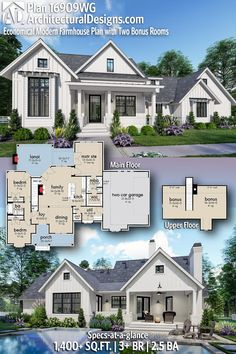 Plan Economical Modern Farmhouse Plan with Two Bonus Rooms Architectural Designs Modern Far New House Plans, Dream House Plans, Modern House Plans, Small House Plans, House Plans With Pool, The Plan, How To Plan, Plan Plan, Modern Farmhouse Plans