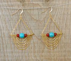 Coucou Suzette / Dangle earrings Chain Long chandelier Earrings / Gypsy elegant bib earrings / gold Boho earrings / gypsy jewelry / bohemian jewelry