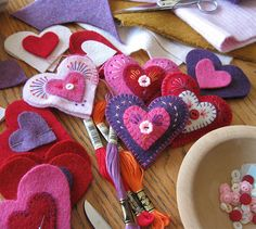 hearts in progress | heart felt brooches in progress | Cheryl | Flickr