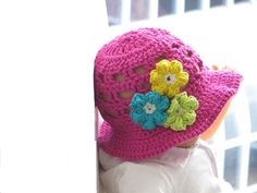 Crochet Sun Hat Pattern for Girls, Newborn to 10 years (pdf pattern for sale), in English and French Versions.