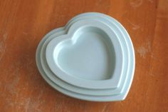 Blue nesting ceramic heart dishes A Company by WaterBetweenStones, $5.45