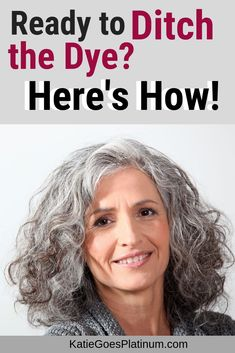 gray hair How to go gray from colored hair You have many options. The one you choose depends on your budget, your temperament and your personality! Read this detailed post to help you choose the perfect gray hair transition method for YOU! Grey Hair Dye, Grey Curly Hair, Long Gray Hair, Grey Wig, Dyed Hair, Curly Hair Styles, Lilac Hair, Pastel Hair, Dying Your Hair Grey
