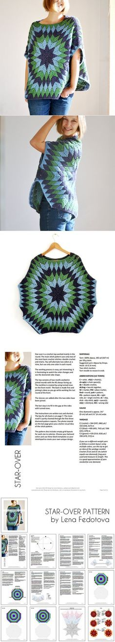 Crochet Start-over Poncho – Pretty Ideas - Stricken Poncho Crochet, Crochet Bolero, Mode Crochet, Crochet Cardigan, Crochet Granny, Crochet Scarves, Crochet Clothes, Crochet Stitches, Crochet Patterns