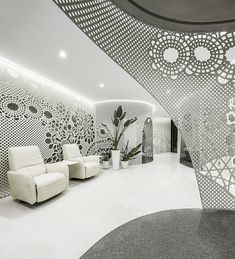Beijing Space of Lace Pattern—Lily Nails Salon,© Jin Weiqi Modern Interior, Interior Architecture, Interior Design, Ceiling Design, Wall Design, Salon Blue, Lily Nails, Nail Salon Design, Workspace Design
