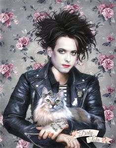 Love Cats portrait of Robert Smith from The Cure. Print Details: Available in 8x10, 11x14, or 16x20 inches. This is a high quality art print of my