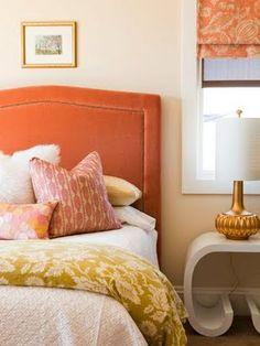 Alice Lane Home: Chic, modern orange bedroom design with orange velvet headboard with nailhead trim, lime . Dream Bedroom, Home Bedroom, Girls Bedroom, Bedroom Decor, Pretty Bedroom, Warm Bedroom, Bedroom Simple, Bedroom Modern, Contemporary Bedroom