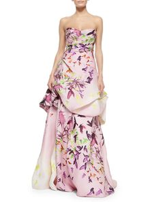 Monique Lhuillier Strapless Bird-Print Draped Ball Gown