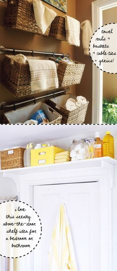 Clever storage ideas for small spaces.  I love the rods and baskets.  Classy ideas. - MilitaryAvenue.com