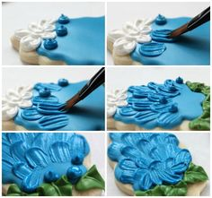 Brush embroidery blue bonnet cookies