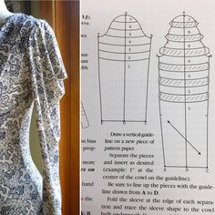 The cowl sleeve image by threads magazine Dress Sewing Patterns, Clothing Patterns, Sewing Clothes, Diy Clothes, Sewing Collars, Sewing Sleeves, Pattern Draping, Sleeves Designs For Dresses, Fashion Sewing