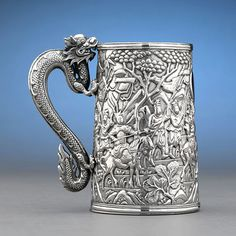 Large Chinese Export Silver Tankard