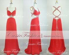 2014 Prom DressBeading Crystal Red Floor Length by CassieFashion, $169.00
