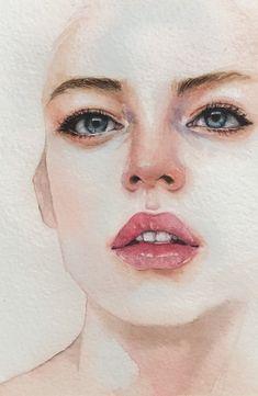 Watercolor Portrait Painting, Watercolor Art Face, Watercolor Paintings For Beginners, Sketch Painting, Portrait Art, Watercolor Illustration, Watercolor Portrait Tutorial, Guache, Color Pencil Art
