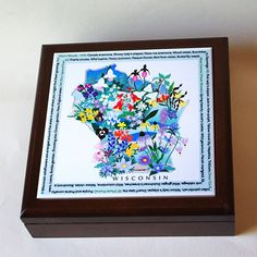 Wood keepsake box with Wisconsin Wildflowers ceramic tile, spring floral jewelry box, mother's day gift for gardener, B147 by RVJamesDesigns on Etsy