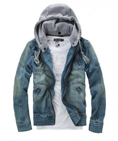 Men Blue Zipper Jean Jacket