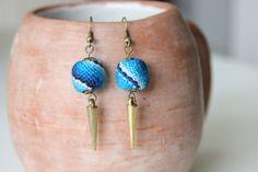 Peruvian Textile Blue Dangle Earrings by KusiPeru on Etsy, $10.00