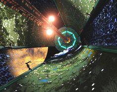 Interior of an O'Neil Cylinder orbiting Mars.  #ONeilCylinder  #ArtificialWorld  #Mars