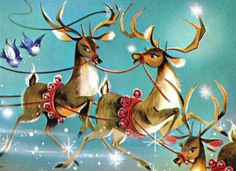 The Night Before Christmas by Carol Munshi Christmas Moose, Christmas Scenes, Christmas Music, Christmas Photos, Christmas Print, Father Christmas, Christmas Sweaters, Vintage Greeting Cards, Vintage Christmas Cards